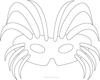 Mardi Gras mask coloring page or mask pattern template