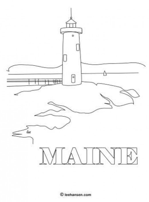 Maine lighthouse coloring page poster