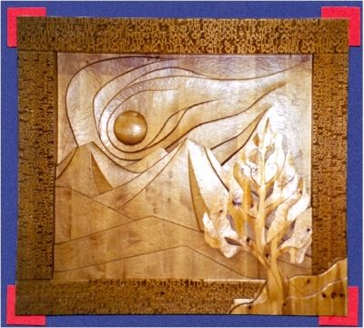 This awesome wood carving dominates one wall in the Redmond Airport