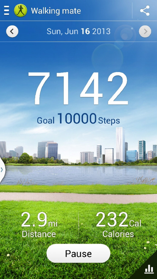 This is the walking mate/pedometer from S Health; it tracks your steps even when you are holding the phone and walking (e.g. reading a text). There is also an exercise mate that has a long list of exercises to pick from. When you enter how long you p