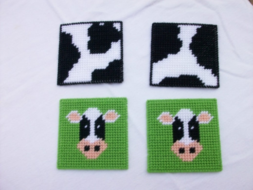 Cow and Cowhide Coaster Set