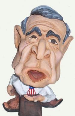 President Bush cartoon sculpture