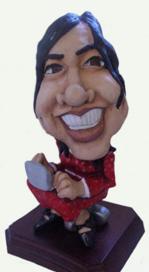 cartoon sculpture female client