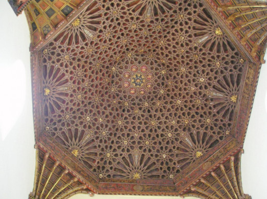 Exquisite Mudejar church ceiling, Baza.  Mudejar craftsmen were Muslims permitted to stay in Spain after the Christian reconquest.