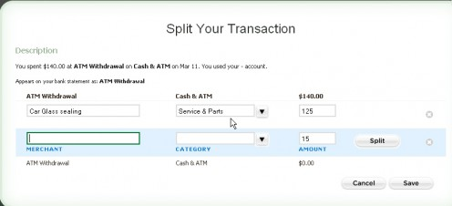 Figure 4.1: Split a transaction