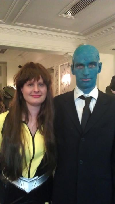 Amy and Sy as Silk Spectre and Dr. Manhattan