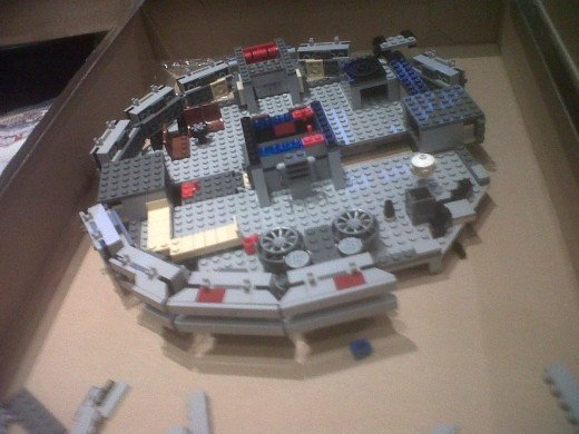 The base of the Millennium Falcon under construction.