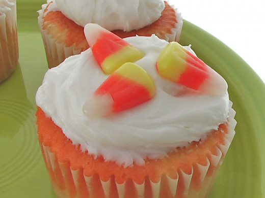 My delicious candy corn cupcakes. The inside is orange and yellow swirl! I gave these cupcakes to my favorite goblins a few years ago as their treats.