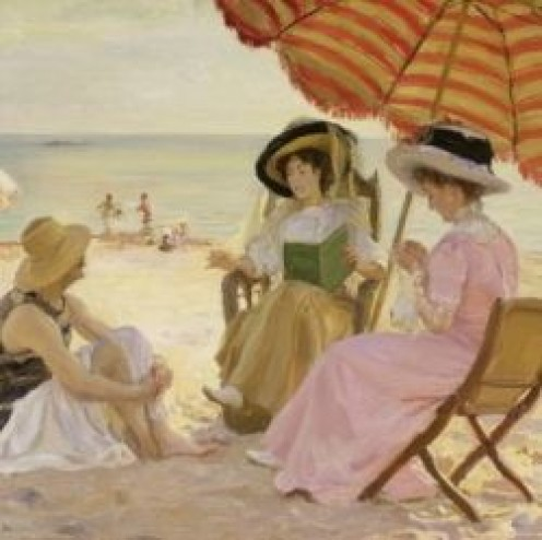 One of my favorite places to read a good mystery novel is under an umbrella at the beach.