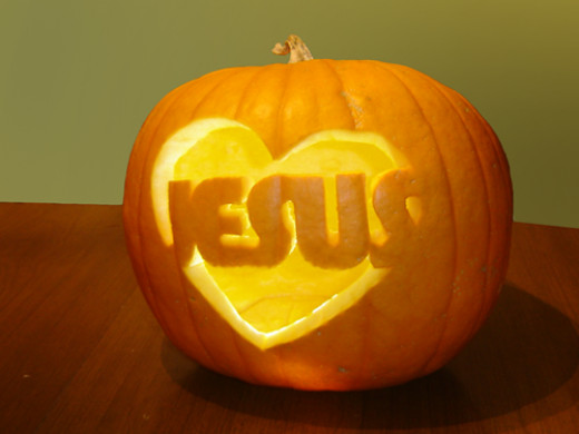 Religious jesus pumpkin carved by kab