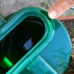 sun damage to the plastic on my garden watering can