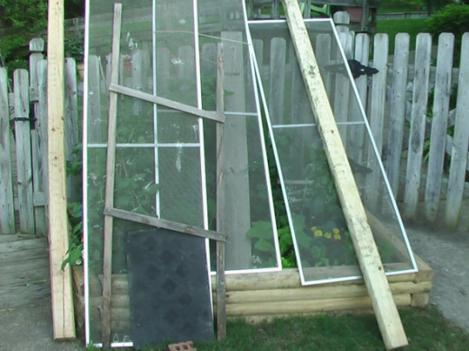 Use what you have on hand! Recycle old window screens to protect from flying shingles. I am hoping that this will protect the delicate tomato and squash plants that were doing so well.