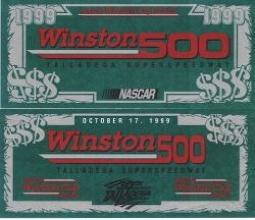 Photo of the actual NASCAR Dollars, front and back. They are the size of a real dollar bill and are a great collectible.
