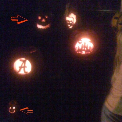 Spot my 2 carved pumpkins? Losers again! Sorry it is fuzzy.