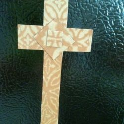 "Refrigerator Magnet Cross: made from one of those ""ad"" magnets and a paper shopping bag from World Market."