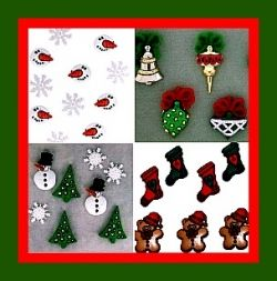 A few of the Christmas Charms you can purchase for your rubber band bracelets that you make with a Rainbow Loom.