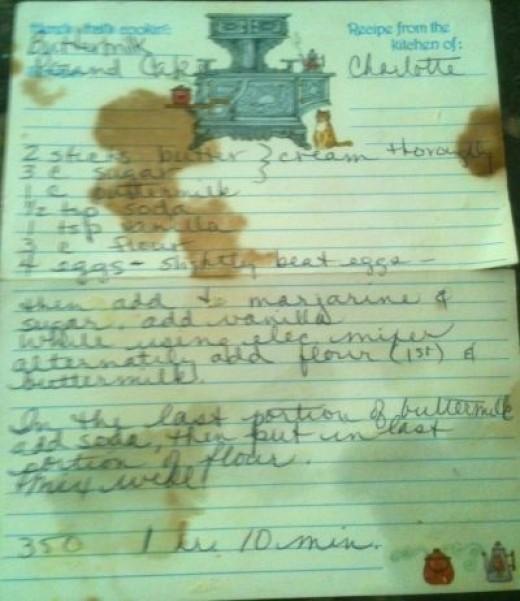 vintage buttermilk pound cake recipe card