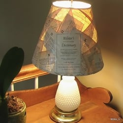Lamp Shade covered with pages from a very old dictionary.