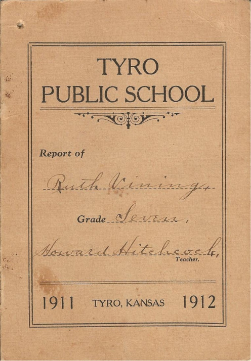 Ruth Vining's 7th grade report card from Tyro Public School. (photos and grade card from the Gail Lee Martin collection)