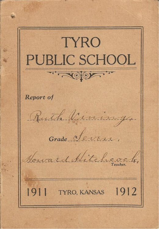 Ruth Vining's 7th grade report card from Tyro Public School.(photos and grade card from the Gail Lee Martin collection)
